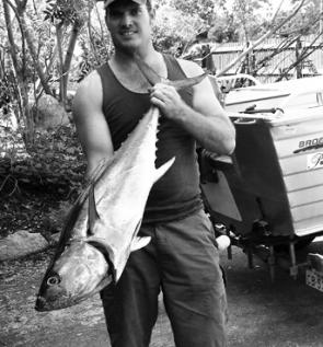 The author with a longtail tuna caught in the Pearl Channel using a 3