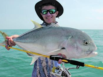 Brassy trevally pound for pound are one of the world's strongest fish. This muscular pocket rocket smashed the author's Storm SX-Soft vibe worked over a shallow reef.