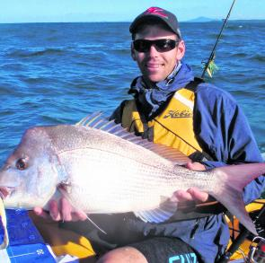 Dale Johnson with one of the snapper that won him the kayak section of the Dave Irvine Memorial Snapper Classic.