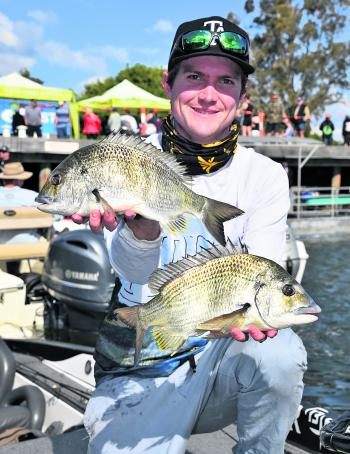 Tom Slater with a pair of his Clarence winning bream.