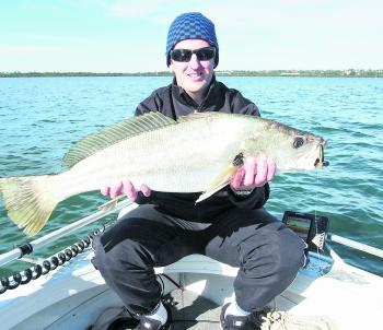 Andrew Humphries still hasn't got the smile off his face after catching his first mulloway.