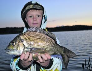 Young Billy 'the bream whisperer' with a nice bream from Burrill.
