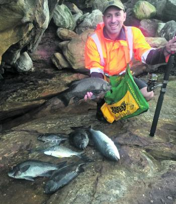 Skev Stefadauros caught this great mixed bag of seven rock blackfish, two bream and a salmon. Two rock blackfish were released. He sent the author some traditional Greek fish dishes recently. Absolutely Bellissimo!