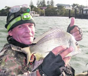 A nice legal bream caught in the Tweed River not far from home.