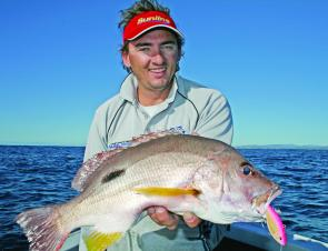 Kelvin Williams caught this quality moses perch on a vibration lure while targeting snapper on the shallow reefs off the Tweed.