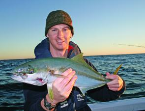Rat kings, like this one caught on light spin gear, should be around Fidos Reef and the Nine Mile this month.