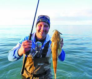 Joe Bruno with fantastic land-based flathead caught while wading around the Blairgowrie front beach.