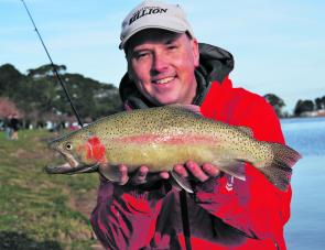 Marc Ainsworth with a great Lake Learmonth rainbow trout (Photo courtesy Marc Ainsworth).