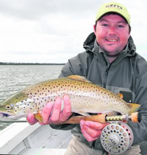 Lubin Pfeiffer with an impressive brown trout from Lake Tooliorook (Photo courtesy Lubin Pfeiffer).