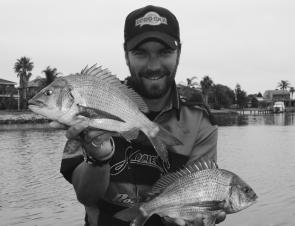 The author with some Patterson River bream – check out the lapels on the Japanese fishing shirt!