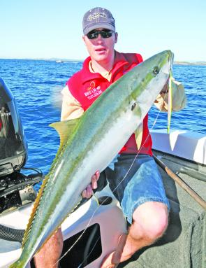 Kingfish like this one, caught on a 180g Chaos Jig, are always an option this month.