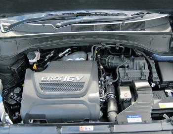 The Santa Fe's 2.2L diesel engine is a very refined unit, combining power and economy in a smooth package.