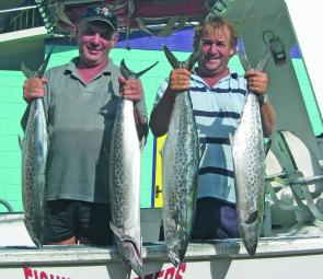 The author and Rod Parker after going to war with a huge school of mackerel.