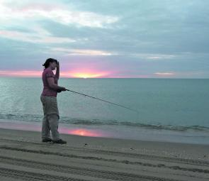 Was that a splash there? Evening in the gulf is a mighty good time for a hook-up on fly.