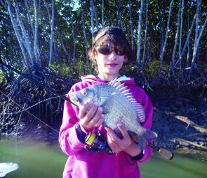 There are plenty of bream in the creeks like this beauty lured up by Luke Vella in Constant Creek.