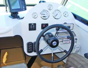 A compact, easily monitored dash layout is a feature of this craft.