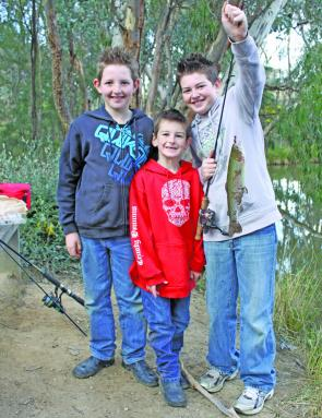 Jordan, Seth and Jake Miles from Glenrowan enjoying there local family friendly fishing lake.