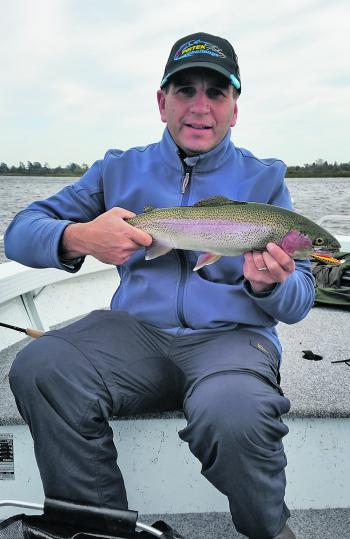 The author and his Lake Wendouree rainbow trout caught casting a Norries hardbodied lure in the main rowing channel.