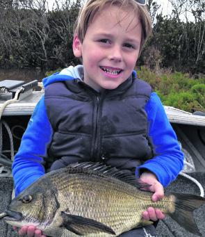 Thomas towelled up his dad with this ripping bream from the Barwon estuary.