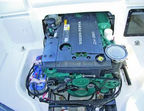 The Volvo Penta D4 inboard is a popular choice for larger craft: note the accessibility of many of the features around and on the engine.