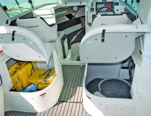 Whittley won't miss an opportunity for storage: check out the storage space under the forward seats.