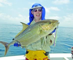 This almaco jack is a close relative of the amberjack and was jigged from a reef off Cooktown.jpg