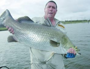 Paul Mckay caught this 106cm barra, which helped him come third place in the ABT at Monduran Dam.