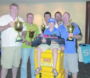 The crew of Watch Tower with their numerous trophies acquired from the Hervey Bay Game Fishing Tournament. From left, Greg Smith, Terry McCann, Dion White, Tommy Wood, Jari Sannholm and Rob Wood.
