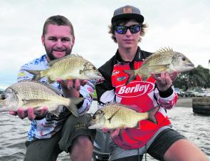 Vaughn Lewis and Todd Riches from Team Berkley/C'ultiva with some of the fish that earned them first place.