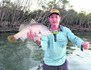 This prime barra took a liking to a Gulp jerkbait strategically fished amongst the timber.