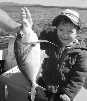 Look what I caught, Dad! Riley with an average Bermagui morwong.