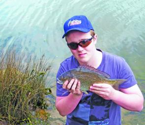 The author with a 35cm to fork bream from the Rubicon River.