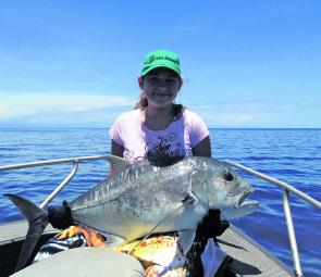 Jasmin Bailey caught this trophy GT while out doing a bit of R&D with her father Kerry, owner of Blackout Sportsfishing.