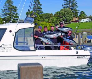 Top charter operator, Matt Hunt, with a very happy crew after a day on the southern bluefin tuna.