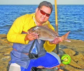 Rodger Rodriguez had to cast his bait out a long distance to reach this 53cm snapper.