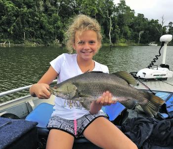 Hayley Lorenz cashing in on a barra session.
