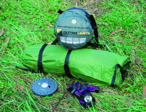 Light weight gear ready to go: the Outer Limits Microsmart 270 sleeping bag, Starlight Two tent plus the handy UFO and Xenen lights.