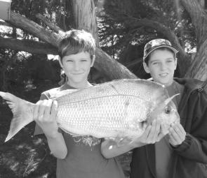 Daniel and Tom Hogan landed a ripper 3.6kg red around the 22m mark out from Carrum. The boys used a combination of baits during the trip, with the most productive being silver whiting. (Photo courtesy of Trev and Lynette Hogan)