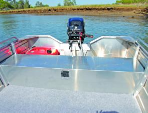 A flat floor is a handy feature in a knockabout-style boat such as the Savage 380 Big Boy.