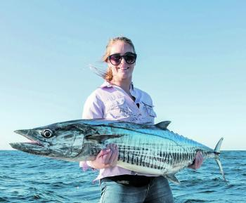 Katie Albinus wins the 'best first mackerel competition,' as she was able to capture this Spaniard on a live bait during her first ever mackerel session.