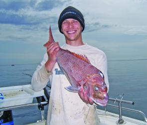 The author with a snapper from the 18m line.