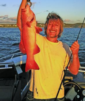 Surfing legend Tom Wegener was stoked with this coral trout caught out at Sunshine Reef just after sunrise.