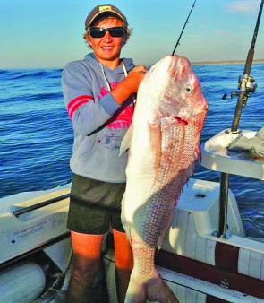 This huge 98cm snapper was caught by 14 year Mitch Dignan from  Mafra.