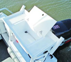 The bait board contains a large bait tank that can easily be plumbed for livies.