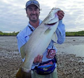 Dion Vale, a Victorian ex-pat, proved the locals wrong with some great barra catches from the saltwater estuaries. This one was just one of about 30 caught in a week… and who said barra don't bite in winter?