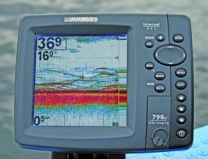 Colour sounders make identifying fish quite easy. The Humminbird 798 reveals an active school of bass.