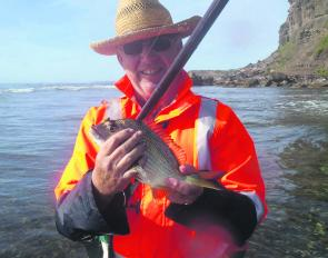 David Garvutt with his first fish from the Pacific Ocean. Luderick are a year round proposition and can be caught during the middle of the day.