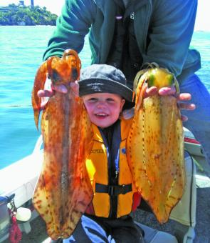 Jack Hartshorne with two excellent squid – typical of the better models available.