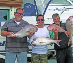 Trevor, Colin and Shaun with Snapper caught in 20m out from Carrum. The snapper ranged between 3.5-4.5kg.