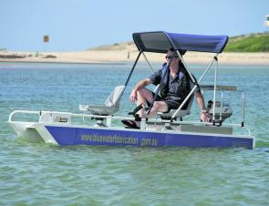 Compact and shallow draft, the Micro Cat can negotiate very skinny water.